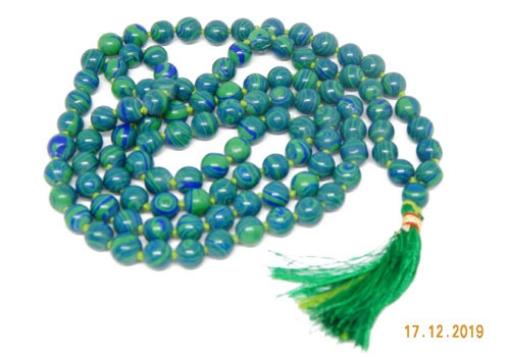 Picture of Azurite Mala : 108+1 Beads Knotted Mala