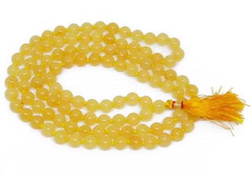 Picture of Yellow Aventurine Mala : 108+1 Beads Knotted Mala