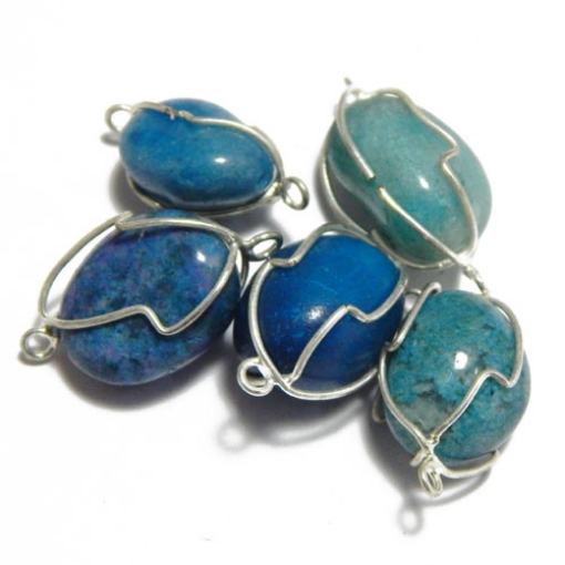 Blue Agate Wire Wrapped Tumble