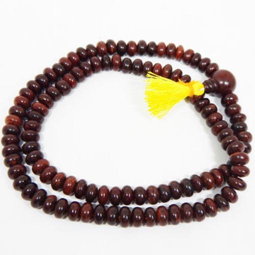 Red Sandalwood String 10mm Disc Shape Beads